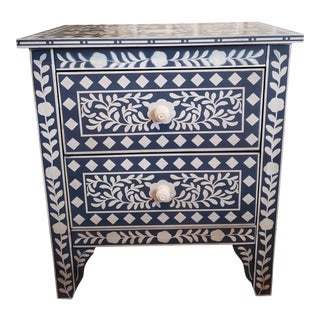 Haojiang Hand-Stenciled Denim Blue and Off-White Nightstand
