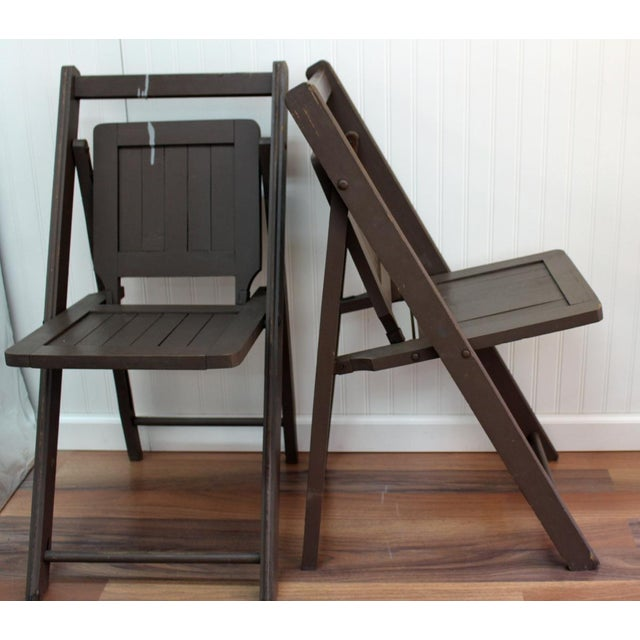 Antique Dark Taupe Painted Folding Chairs - Pair - Image 3 of 8
