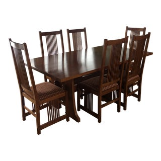 1990s Mission Stickley Cherry Dining Set For Sale