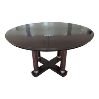 Dark Finish Contemporary Round Table For Sale
