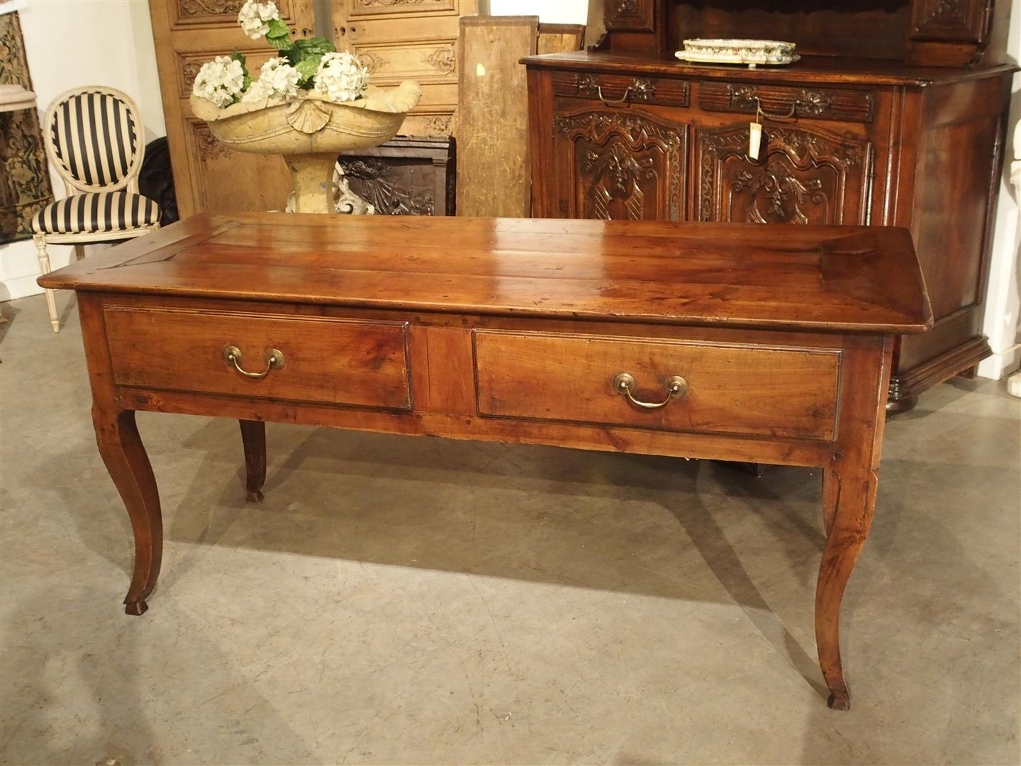 Antique Cherrywood Console Table From Rennes France, Circa 1870   Image 4  Of 11