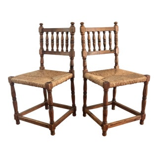 Wooden Rush Seat Spindle Pine Side Chairs- a Pair