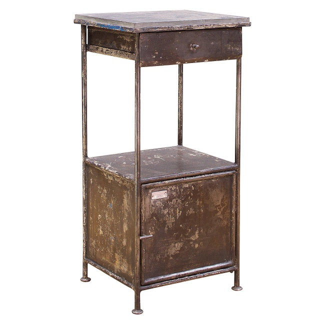 Metal Industrial Alms Petite Industrial Steel and Slate Bedside Table With Cabinet For Sale - Image 7 of 7