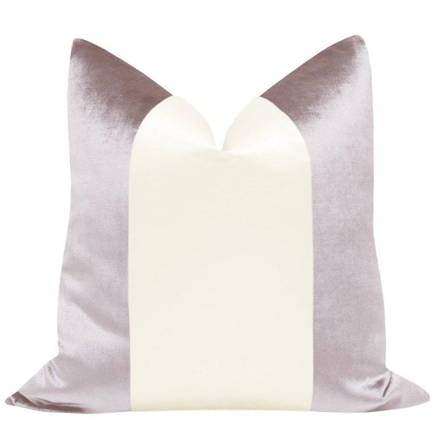 "Pair of 22"" smokey lavender velvet pillows with an off-white alabaster silk center panel. Meticulously handcrafted with..."