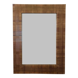 Vintage 1980s Rattan Wall Mirror For Sale