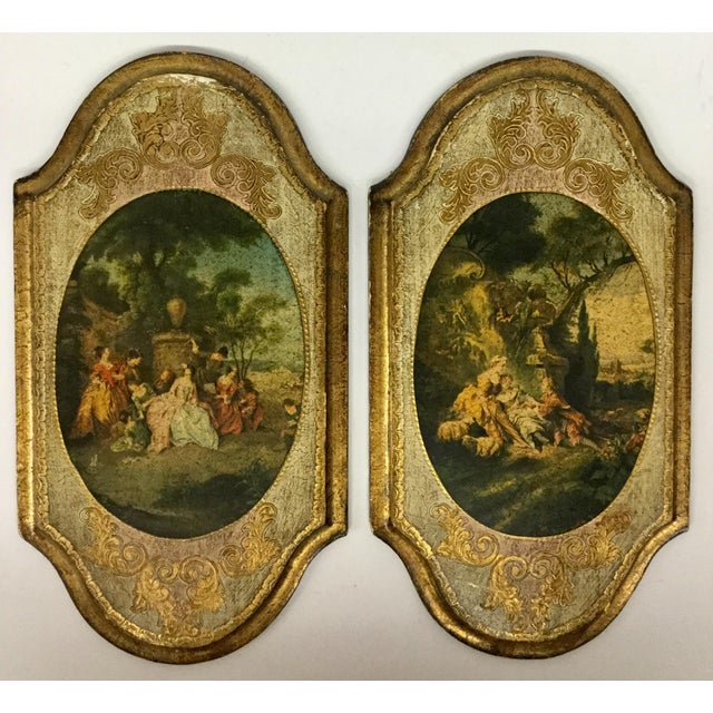Italian Hand Carved Wood Framed Prints - a Pair For Sale - Image 13 of 13