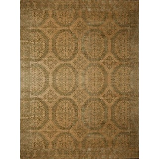 Transitional Elegant All Over Floral Beige and Green Wool and Silk Rug - 8′10″ × 12′2″ For Sale