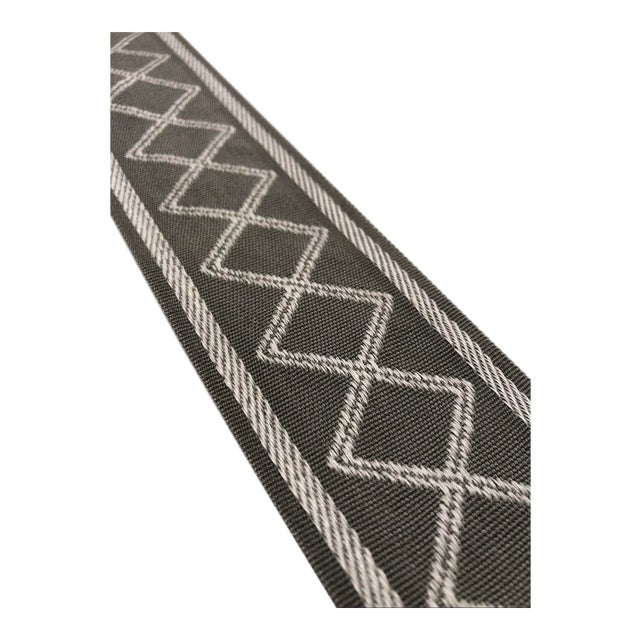 """Modern Gray and White Diamond Motif 2.375"""" Band Fabric Trim - Yards For Sale"""