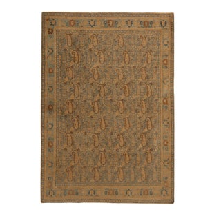 Antique Khorassan Tan Beige and Blue Wool Rug With Boteh Patterns 4′2″ × 6′ For Sale