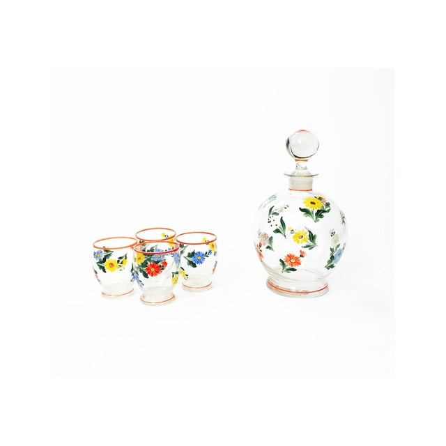 Vintage 5-Piece Floral Czech Decanter Set - Image 2 of 6
