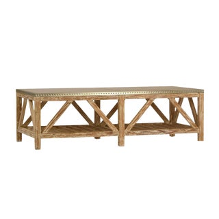 Zinc Top Reclaimed Pine Coffee Table For Sale