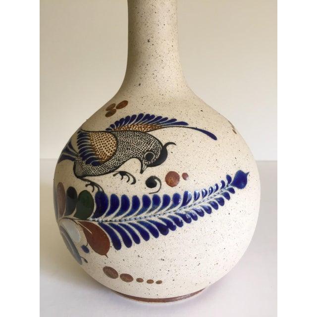 Vintage Mid Century Mexican Stoneware Pottery Tonala Hand Painted Ceramic  Bird Vase