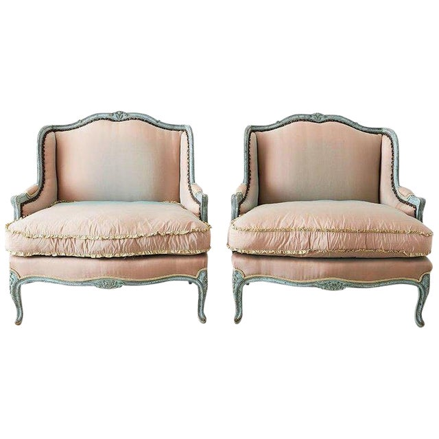 Pair of Louis XV Style Marquise Winged Bergère Armchairs For Sale