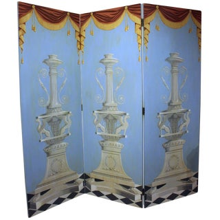 1940s Traditional Triple Panel Folding Screen For Sale