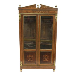 19th Century French Inlaid Marquetry Display Bookcase Cabinet For Sale