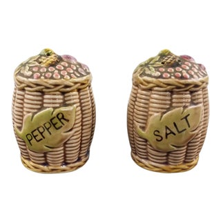 Vintage Fall Fruit Basket Salt and Pepper Shakers - a Pair For Sale