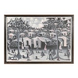 Image of Vintage Haitian Village Painting For Sale