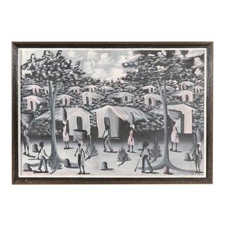 Vintage Haitian Village Painting For Sale