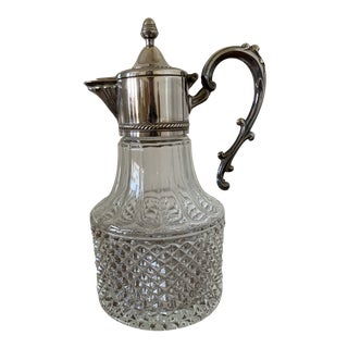 Vintage Italian Glass and Silverplate Decanter For Sale