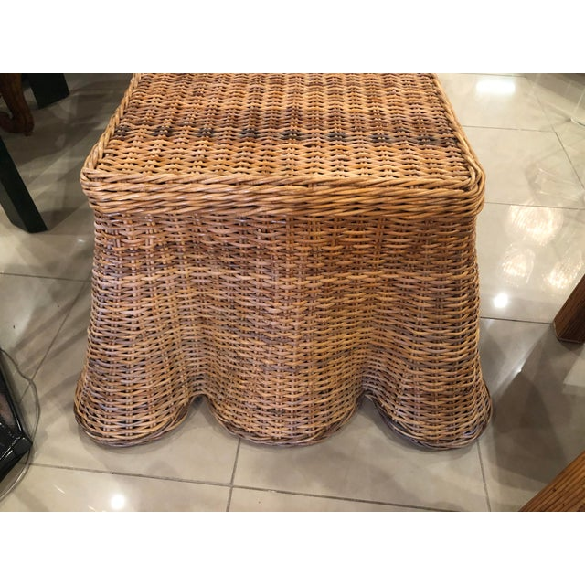 Lovely vintage draped wicker coffee cocktail table, end or side table. Very sturdy and well built (see pictures of...