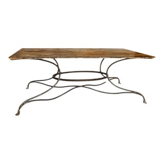 Large French Wrought Iron Garden Table From Arras With Rectangular Top For Sale