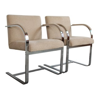 Vintage Mid Century Modern Chrome Flat Bar Brno Arm Chairs - A Pair For Sale