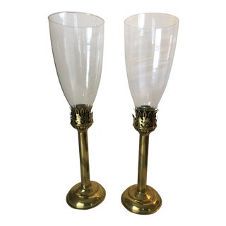 1960s Vintage Brass & Glass Hurricane Candle Holders- A Pair For Sale