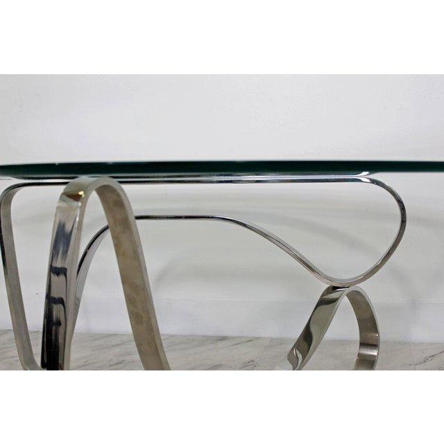 Mid-Century Modern Sculptural Chrome Kidney Glass Coffee Table Pace Era, 1970s For Sale - Image 9 of 10