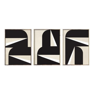 """18"""" X 24"""" Abstract Black & White Graphic Triptych - 3 Pieces For Sale"""