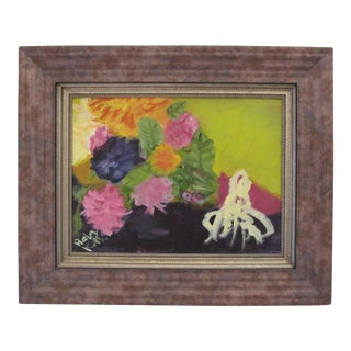Vibrant Framed Abstract Painting of a Bouquet of Flowers For Sale