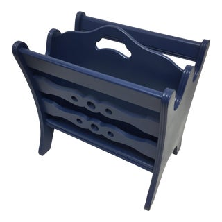 Vintage Wood Magazine Rack Updated in Lacquered Denim Blue For Sale