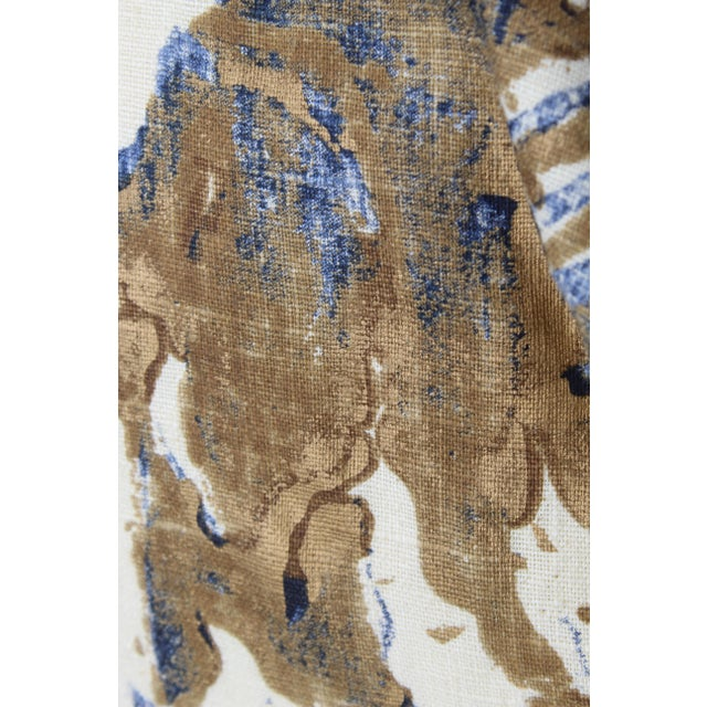 Gold Contemporary Printed Linen Navy Blue and Bronze Down Pillows - a Pair For Sale - Image 8 of 12