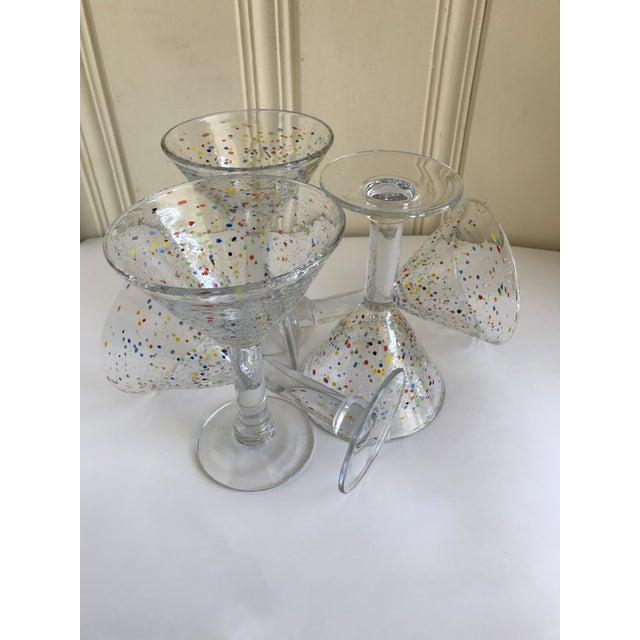 Large Artisan Confetti Martini Glasses- Set of 5 For Sale - Image 10 of 10