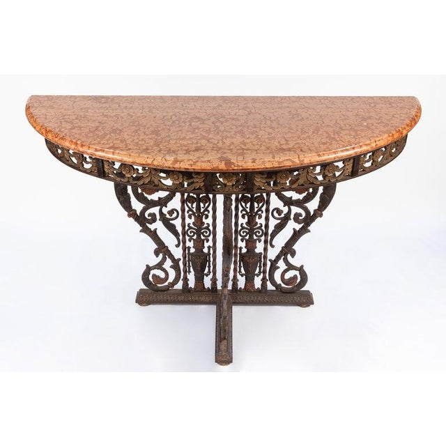 Metal 20th Century Italian Bronze and Iron Marble-Top Console For Sale - Image 7 of 8