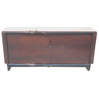 1940s French Art Deco Maurice Rinck Marble Top Macassar Ebony Sideboard For Sale
