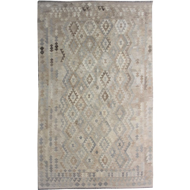 """Hand-Knotted Modern Kilim by Aara Rugs - 9'7"""" x 6'10"""" For Sale"""