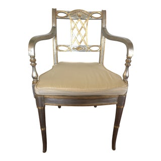 Vintage Mid Century Regency Gold and Silver Leaf Arm Chair For Sale