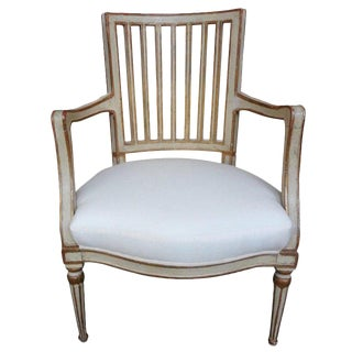 Late 19th Century Swedish Gustavian Style Painted & Gilt Wood Chair For Sale