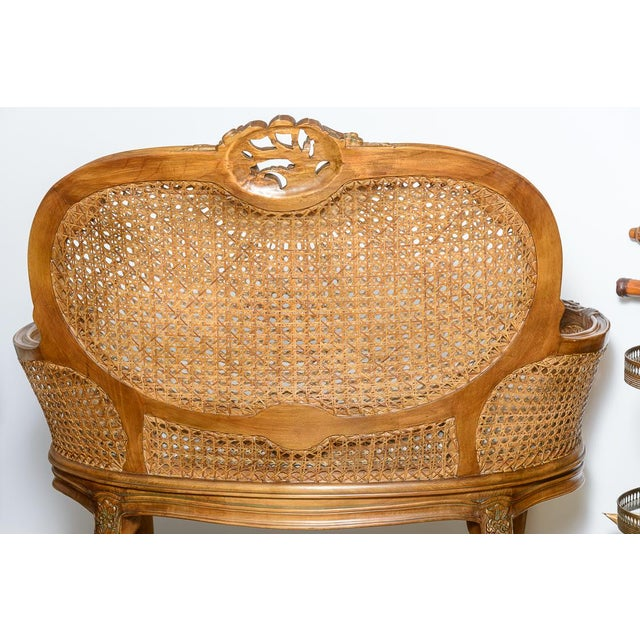 Late 19th Century Antique French C.1870-1880 Louis XVI Style Hand Carved Wood Settee With Double Canning For Sale - Image 5 of 13