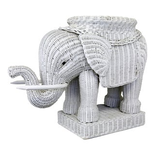 Vintage White Wicker Elephant Table