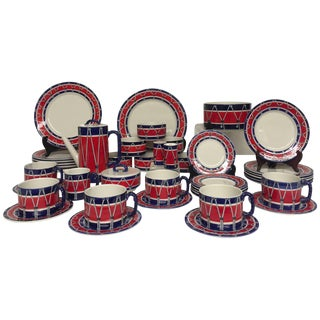 Red White and Blue Mancioli Drum Motiffe Dinnerware For Sale