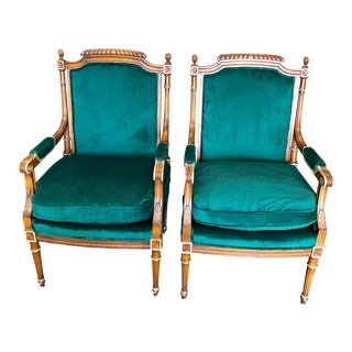 Emerald Green Louis XVI Chairs For Sale