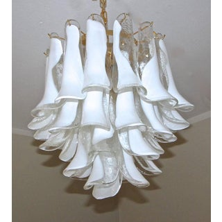 1960s Hollywood Regency Mazzega Murano Clear and White Petal Chandelier Preview