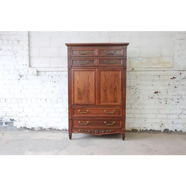 Baker Furniture French Regency Style Cherry Wood Armoire Dresser Chest For Sale - Image 11 of 11