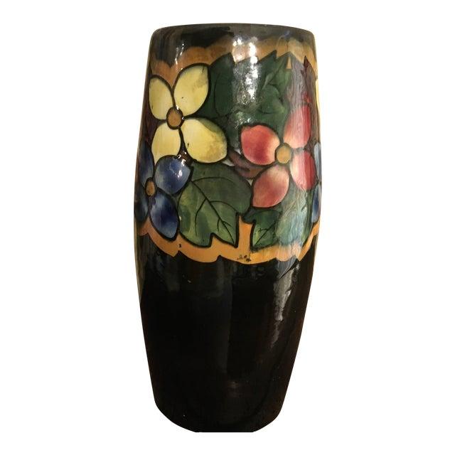 German Pottery Art Deco Majolica Style Vase For Sale