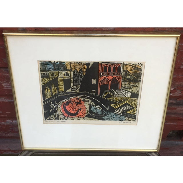 Mid Century Modern Irving Amen Woodblock Print of Venice For Sale - Image 10 of 10