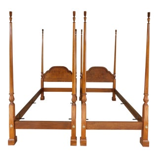 Baker Chippendale Style Oak & Walnut Twin Size Poster Beds - a Pair For Sale