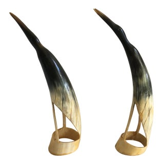 1900s Tribal Carved Horn Heron Egret Birds - a Pair