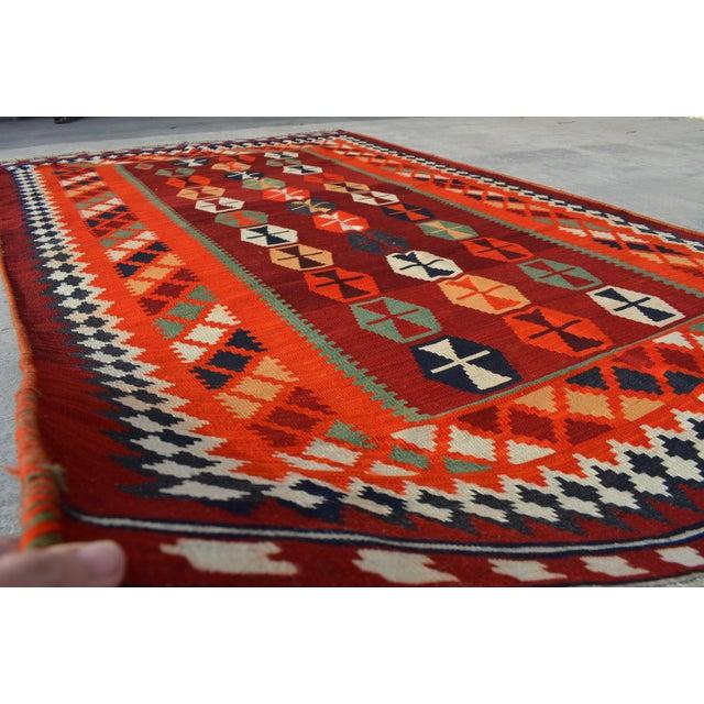 Boho Chic Persian Handwoven Shirazi Red & Orange Kilim Wool Rug - 5′3″ × 8′3″ For Sale - Image 3 of 6