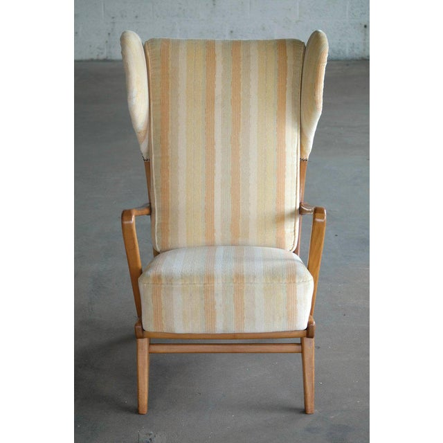 Yellow Danish Midcentury Wingback Lounge Chair With Exposed Sides For Sale - Image 8 of 13